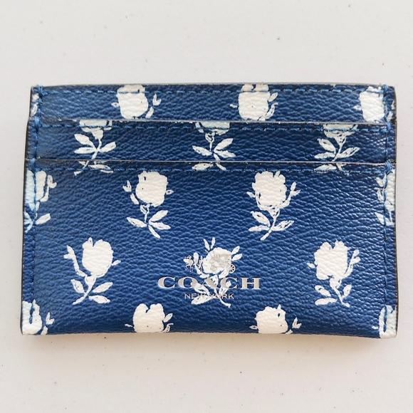Coach Handbags - Coach Leather Blue Floral Flower Card Case Wallet